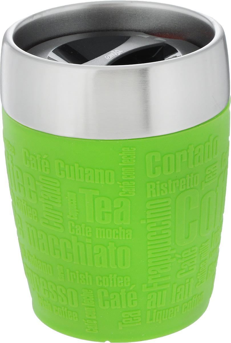 Термостакан Emsa, цвет: зеленый, стальной, 200 млVT-1520(SR)Термостакан Emsa удобно взять с собой на работу, в школу или в поездку. Вакуумный стакан на 100% герметичен. Изделие имеет колбу из нержавеющей стали, благодаря чему температура содержимого сохраняется долгое время. Стакан удобно держать благодаря силиконовой накладке с рельефными надписями. Изделие открывается поворотом крышки. Подходит для автомобильного подстаканника, таблеточных эспрессо-машин и кофейных автоматов, также подходит для мороженого. Высота стакана: 10,5 см. Диаметр (по верхнему краю): 8 см.