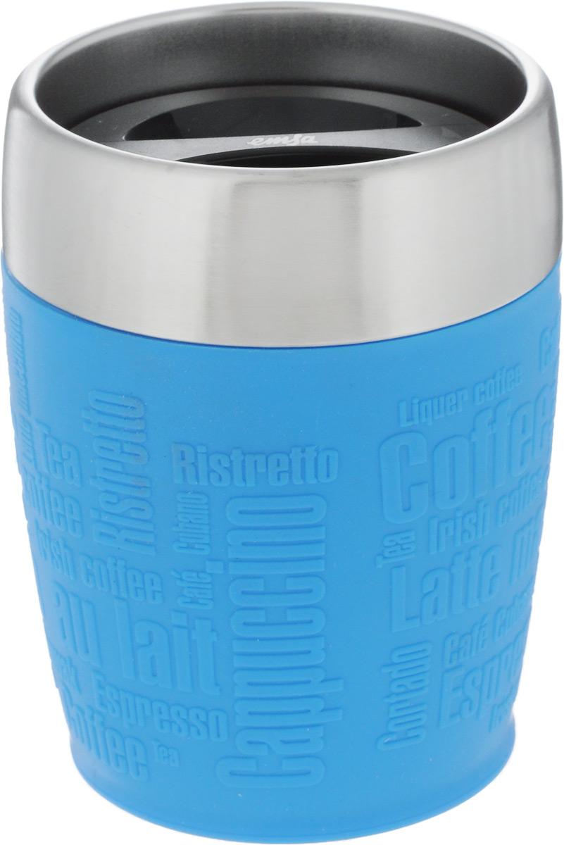 Термостакан Emsa, цвет: голубой, стальной, 200 мл514515Термостакан Emsa удобно взять с собой на работу, в школу или в поездку. Вакуумный стакан на 100% герметичен. Изделие имеет колбу из нержавеющей стали, благодаря чему температура содержимого сохраняется долгое время. Стакан удобно держать благодаря силиконовой накладке с рельефными надписями. Изделие открывается поворотом крышки. Подходит для автомобильного подстаканника, таблеточных эспрессо-машин и кофейных автоматов, также подходит для мороженого. Высота стакана: 10,5 см. Диаметр (по верхнему краю): 8 см.