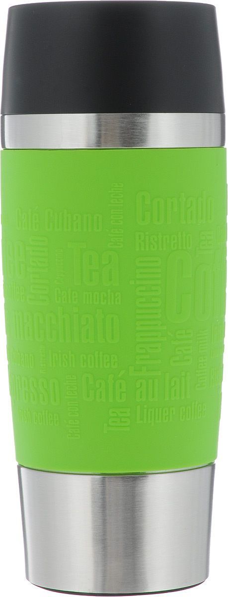 Термокружка Emsa Travel Mug, цвет: зеленый, 360 млVT-1520(SR)Термокружка Emsa Travel Mug - это идеальный попутчик в дороге - не важно, по пути ли на работу, в школу или во время похода по магазинам. Вакуумная кружка на 100% герметична. Изделие имеет вакуумную колбу из нержавеющей стали, благодаря чему температура жидкости сохраняется долгое время. Кружку удобно держать благодаря силиконовой накладке с рельефными надписями. Изделие открывается нажатием кнопки. Пробка разбирается и превосходно моется. Дно кружки выполнено из силикона, что препятствует скольжению.Высота кружки: 20 см.Сохранение холодной температуры: 8 ч.Сохранение горячей температуры: 4 ч.