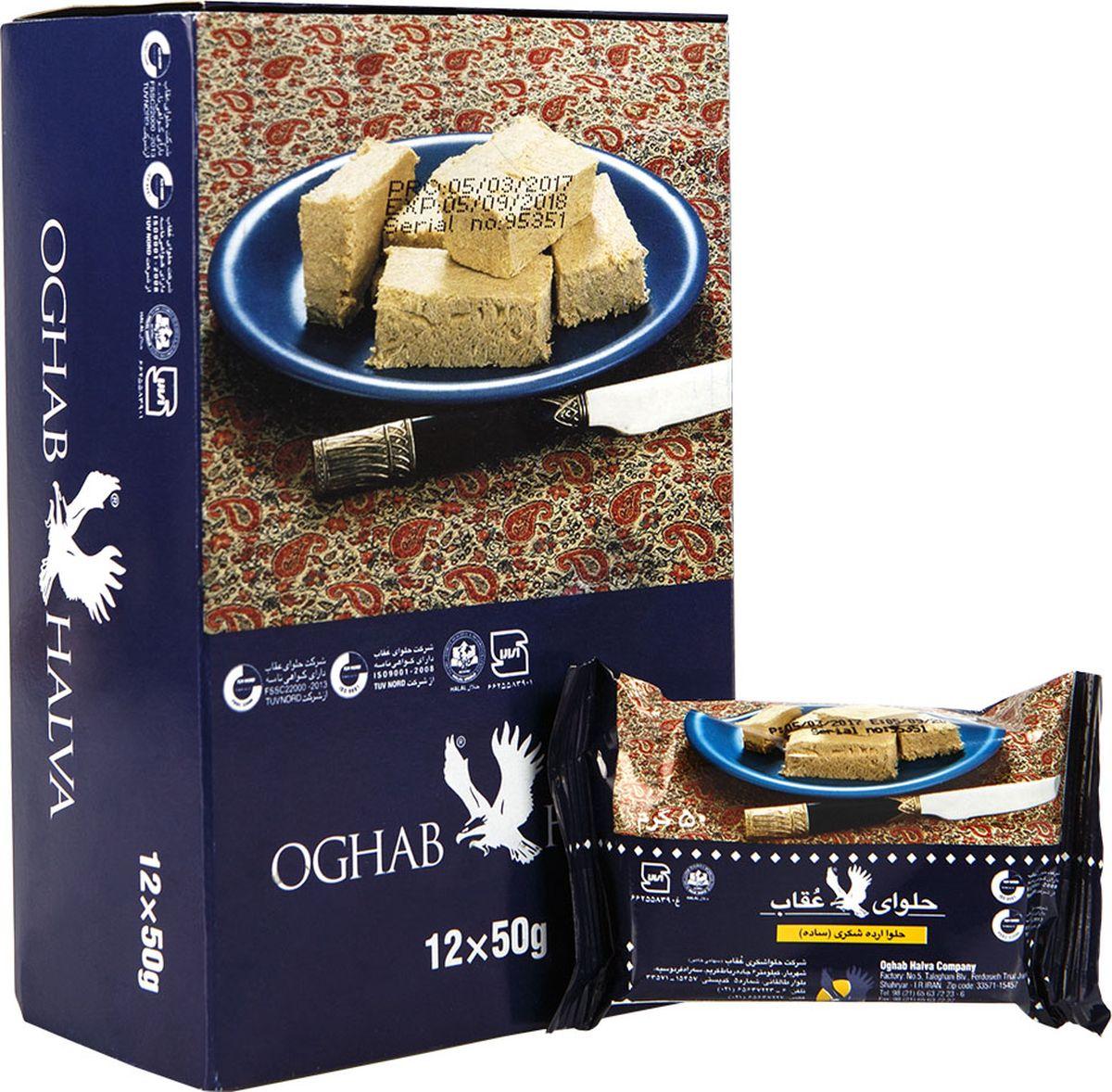 Oghab халва кунжутная, 50 г6260008900076Кунжутная халва КомпанииOghab изготавливается на основе мякоти кунжутного семени, что придает данному лакомству интересную горчинку и изысканное послевкусие. Несомненна и польза халвы - продукт способен насытить наш организм цинком и марганцем, в нем также много меди, фосфора и кальция. Кроме того данное лакомство имеет в своем составе железо, аскорбиновую кислоту, витамины F, В1 и Е.