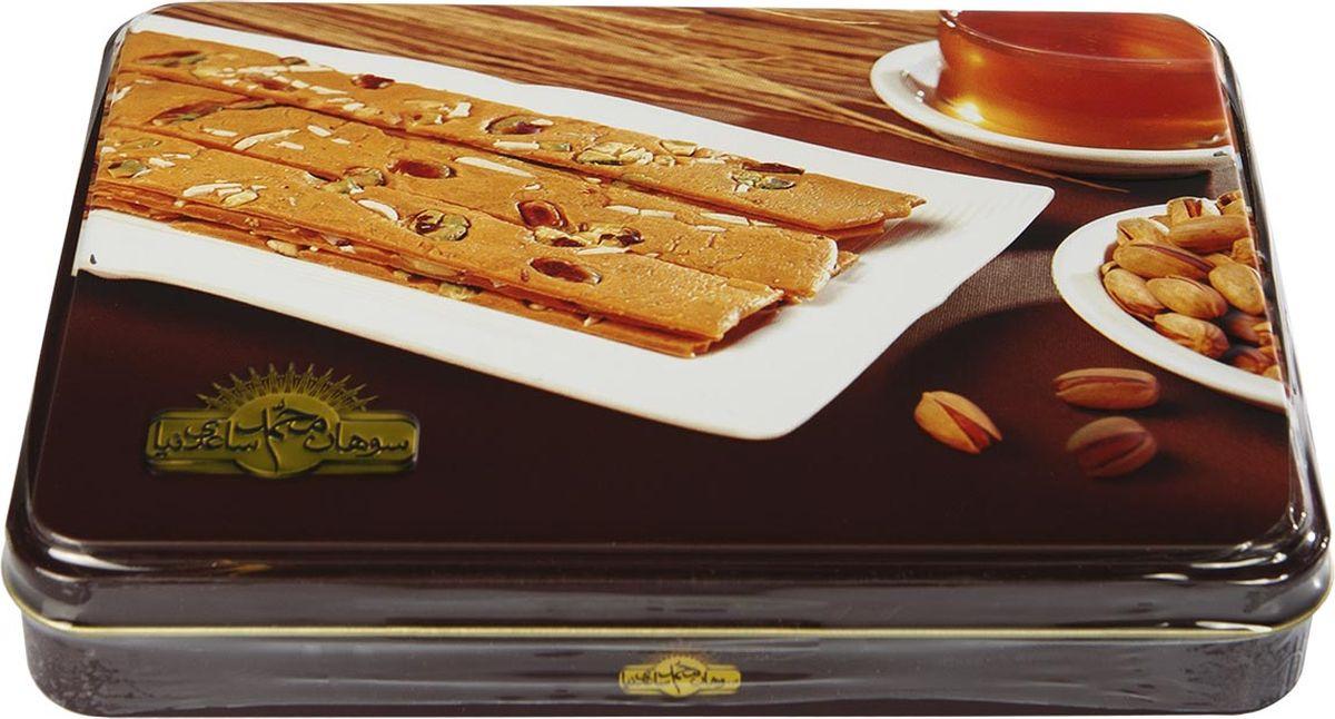 Sohan медовый иранская сладость, 400 г0120710Сохан медовый – это необыкновенное лакомство из Ирана. Одну из самых необычных восточных сладостей изготавливают из пророщенной пшеницы, ядрышек миндаля и фисташек и эссенции с нежным цветочным ароматом. Благодаря такому оригинальному сочетанию вкус иранской халвы получается просто удивительным и аналогов этому десерту нет.