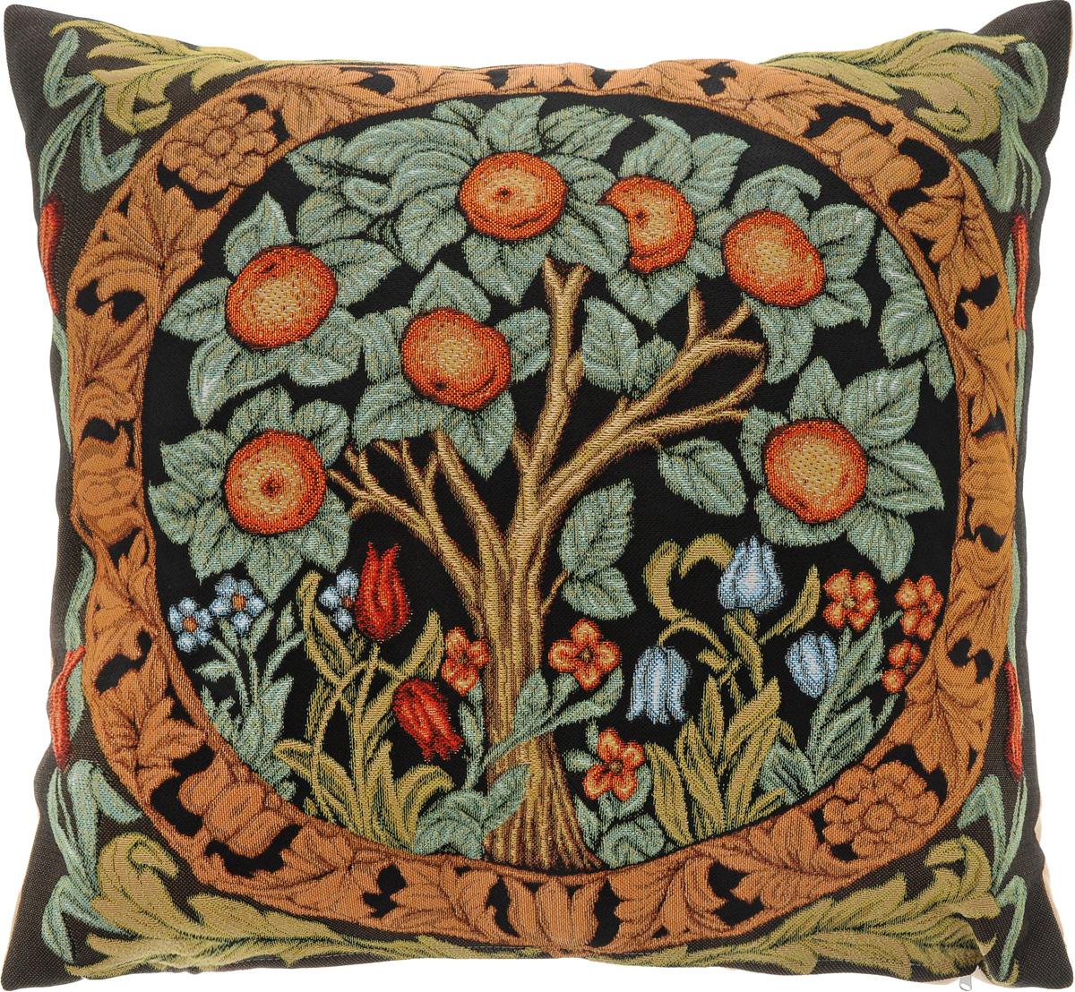Подушка декоративная Рапира Апельсиновое дерево, 45 х 45 см5286Декоративная подушка Рапира Апельсиновое дерево изготовлена из 50% хлопка и 50% полиэфира. Изделие очень прочное и нежное на ощупь. Лицевая сторона подушки декорирована красочным гобеленовым рисунком, а оборотная сторона - однотонная ткань, похожая на плюш. Чехол подушки снабжен удобной молнией. Наполнитель - полиэфир. Подушка Рапира Апельсиновое дерево станет приятным дополнением к интерьеру любой комнаты.Размер подушки: 45 х 45 см.