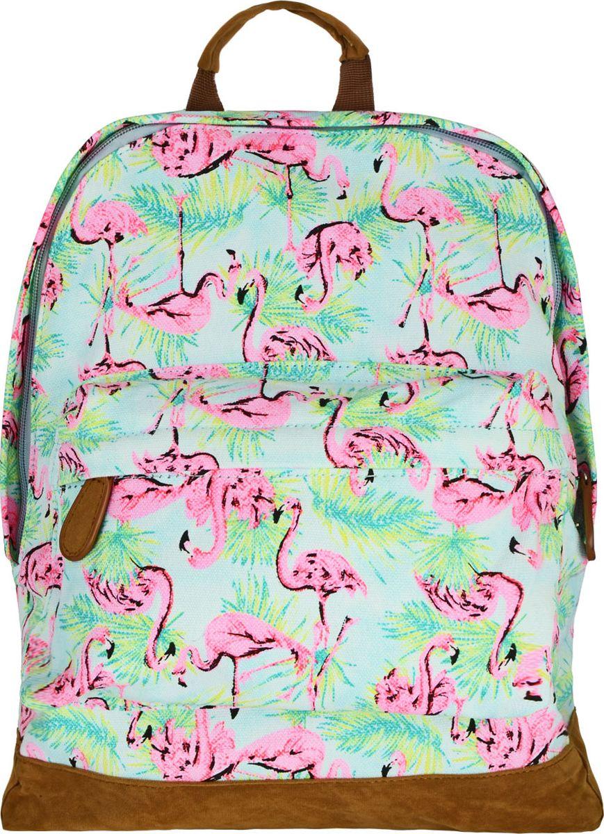 Action! Рюкзак Фламинго00-00028464Легкий летний мягкий рюкзак Action! Фламинго имеет мягкую спинку.Рюкзак выполнен снаружи из натурального хлопка со вставками из искусственной кожи и внутри - подкладка из полиэстера. Изделие имеет одно основное отделение на молнии. На лицевой стороне имеется большой карман на молнии. Внутри отделения располагаются два кармана без молнии разных размеров. Низ рюкзака выполнен из искусственной кожи, для защиты от воды и грязи.Рюкзак имеет тканевую ручку для переноски в руке и регулируемые лямки.