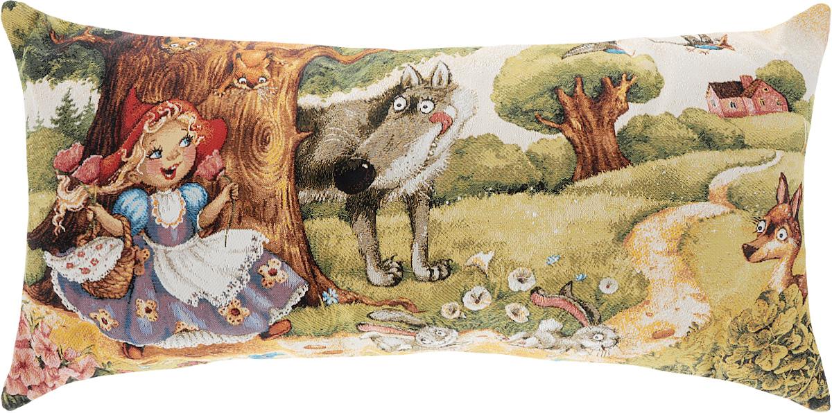 Подушка декоративная Рапира Красная Шапочка и серый волк, 32 х 68 см1004900000360Декоративная подушка Рапира Красная Шапочка и серый волк изготовлена из 50% хлопка и 50% полиэфира. Изделие очень прочное и нежное на ощупь. Лицевая сторона подушки декорирована красочным гобеленовым рисунком, а оборотная сторона - однотонная ткань, похожая на плюш. Чехол подушки снабжен удобной молнией. Подушка Рапира Красная Шапочка и серый волк станет приятным дополнением к интерьеру любой комнаты.Размер подушки: 32 х 68 см.