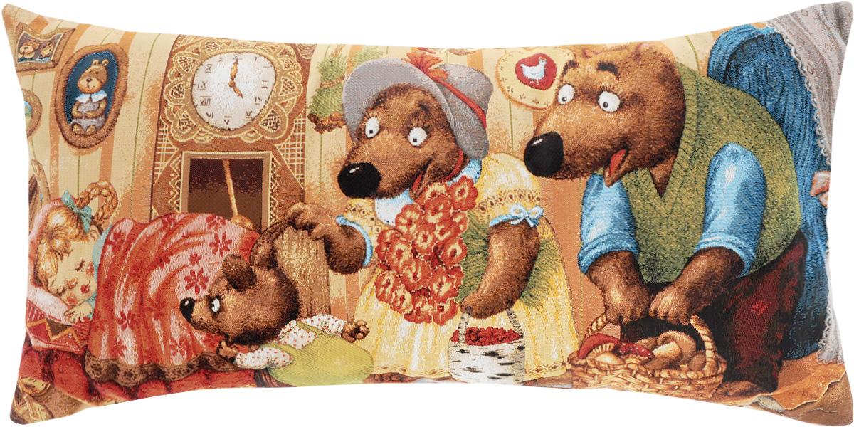 Подушка декоративная Рапира Маша и медведи, 32 х 66 смCLP446Декоративная подушка Рапира Красная Маша и медведи изготовлена из 50% хлопка и 50% полиэфира. Изделие очень прочное и нежное на ощупь. Лицевая сторона подушки декорирована красочным гобеленовым рисунком, а оборотная сторона - однотонная ткань, похожая на плюш. Чехол подушки снабжен удобной молнией. Подушка Рапира Маша и медведи станет приятным дополнением к интерьеру любой комнаты.Размер подушки: 32 х 66 см.