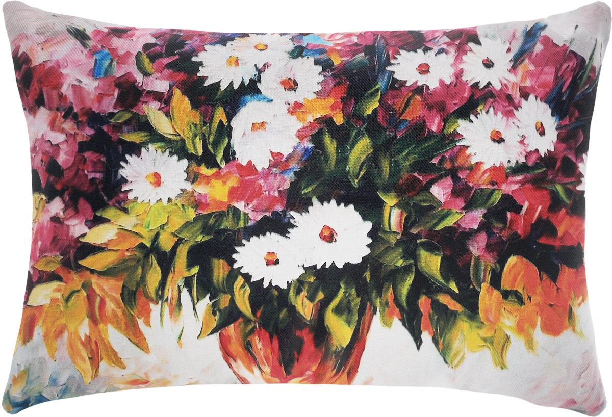 Подушка декоративная Рапира Букет цветов с ромашками, 45 х 65 смS03301004Декоративная подушка Рапира Букет цветов с ромашками изготовлена из 100% полиэфира. Изделие очень прочное и нежное на ощупь. Лицевая сторона подушки декорирована красочным гобеленовым рисунок, а оборотная сторона - однотонная ткань, похожая на плюш. Чехол подушки снабжен удобной молнией. Подушка Рапира Букет цветов с ромашками станет приятным дополнением к интерьеру любой комнаты.Размер подушки: 45 х 65 см.