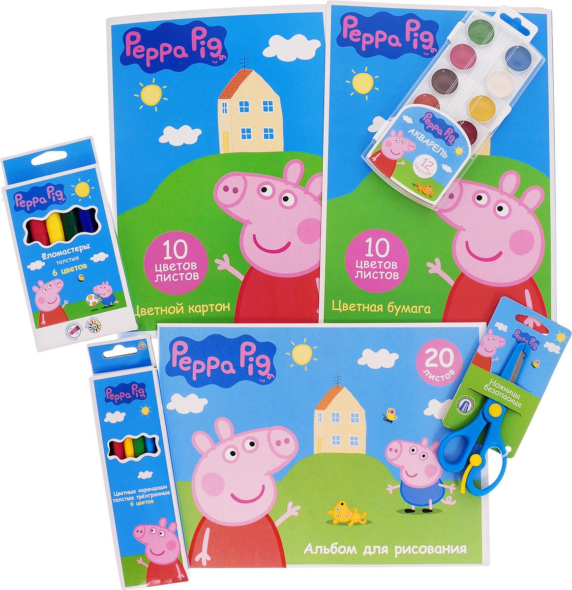 Peppa Pig Набор для детского творчества 7 предметов33351Набор для детского творчества Peppa Pig содержит все необходимые предметы для детского творчества, как дома, так и в школе.В набор входят альбом для рисования, цветной картон и цветная бумага, безопасные ножницы, акварель, фломастеры, цветные карандаши.Все изделия украшены изображениями героев мультфильма Свинка Пеппа.Порадуйте своего ребенка таким замечательным набором!