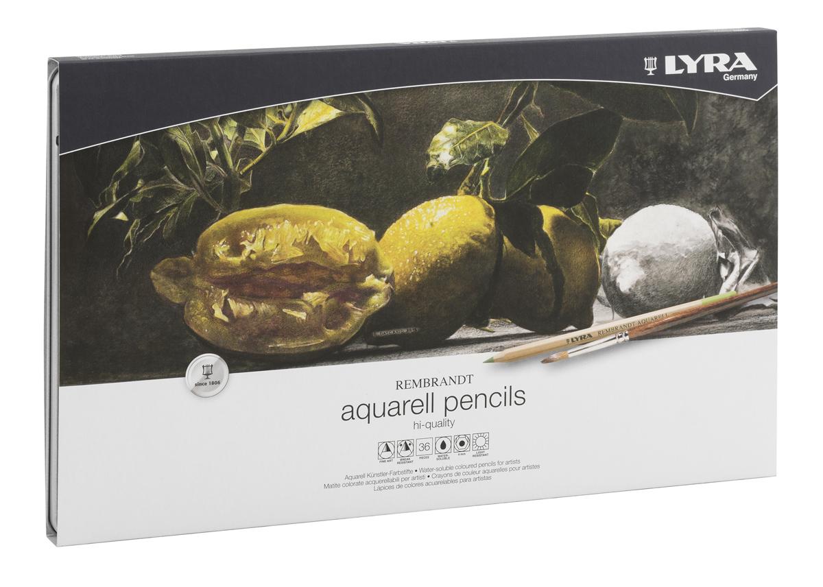 Lyra Набор художественных цветных карандашей Rembrandt Aquarell 36 шт2010440Цветовая палитра художественных карандашей Lyra содержит большое разнообразие оттенков. Благодаря качеству пигментов в грифеле карандаша цвета получаются яркими, хорошо смешиваются и почти полностью размываются водой. При работе в этой технике вы сначала рисуете изображение карандашами, а затем с помощью мягкой кисти размываете его водой.Каждый цветной карандаш Rembrandt Aquarell дает выразительный оттенок, устойчивый к выцветанию. Поэкспериментируйте, чтобы добиться различных вариантов прозрачности и непрозрачности.