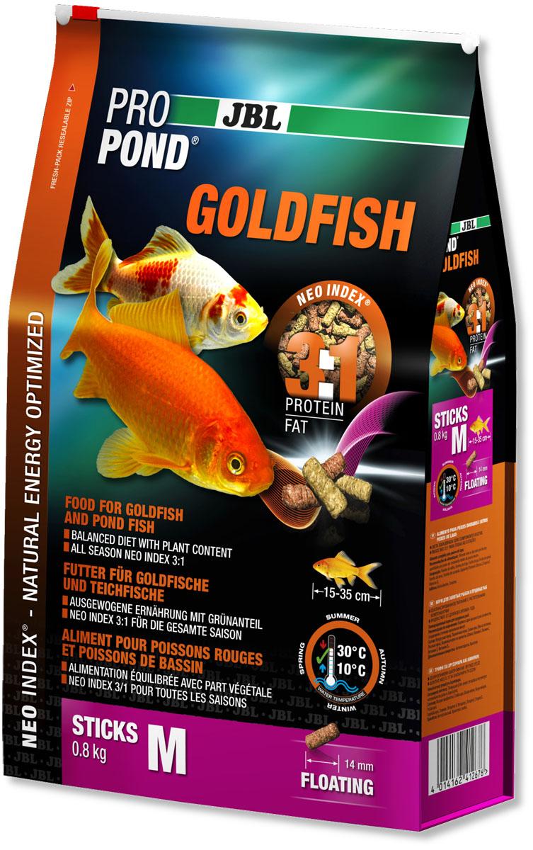 Корм JBL ProPond. Goldfish M для золотых рыбок среднего размера, плавающие палочки, 800 г (6 л)0120710Корм JBL ProPond. Goldfish M в виде плавающих палочек предназначен для средних и крупных золотых рыбок. Это основной корм с правильным соотношением белков и жиров 3:1 по индексу NEO Index, учитывающему температуру воды, функции, размер и возраст питомцев. NEO Индекс буквально означает: натуральное энергетически оптимизированное питание. Если рассматривать с точки зрения времени года, рыбы зимой должны получать вдвое меньше белков (2:1), чем летом (4:1). Однако учитываются не только время года и температура воды, но и размер, и возраст, а также функция корма (например, для роста - ProPond Growth). NEO Индекс сочетает в себе все эти нюансы. Корм содержит пшеницу, лосось, креветки и шпинат для силы и здоровья золотых рыбок (при температуре воды 10-30°С). Размер корма M (14 мм) предназначен для рыб 15-35 см. Плавающие палочки с 20% белка, 6% жира, 3% клетчатки и 9% золы. Корм в виде палочек хранится в закрывающейся герметичной свето- и водонепроницаемой упаковке для лучшего качества. Товар сертифицирован.