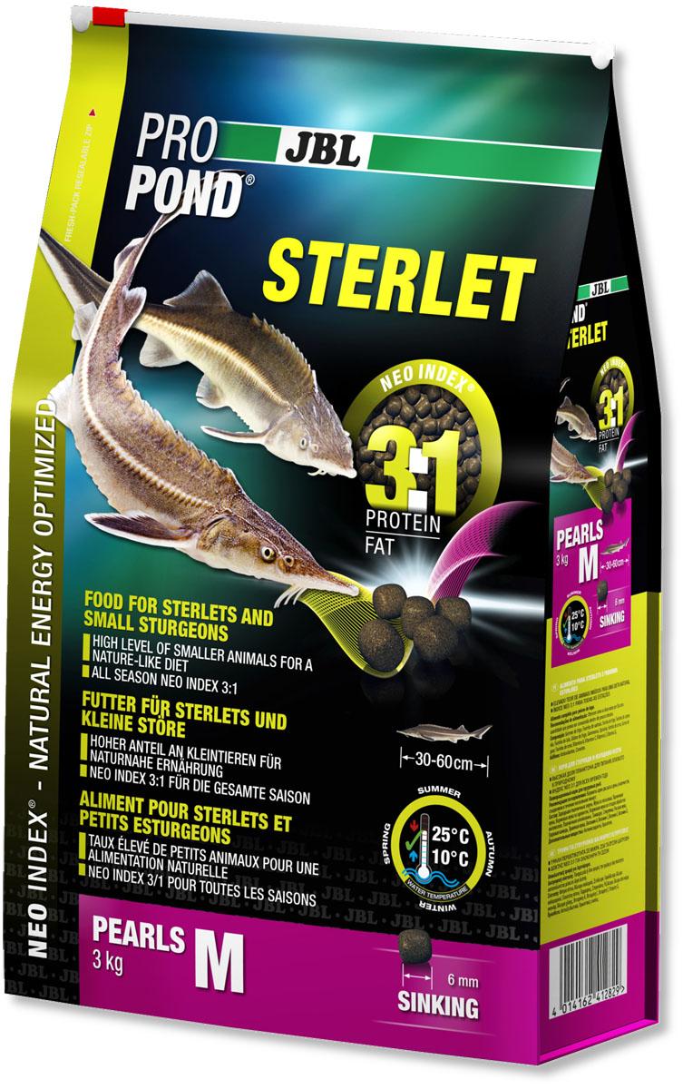 Корм JBL ProPond. Sterlet M для осетровых рыб среднего размера, тонущие гранулы, 3 кг (6 л)0120710Корм JBL ProPond. Sterlet M в виде тонущих гранул предназначен для осетровых рыб среднего размера. Это основной корм с правильным соотношением белков и жиров 3:1 по индексу NEO Index, учитывающему температуру воды, функции, размер и возраст питомцев. Корм содержит лосось, креветки, кальмары, спирулину и гаммарус для природного рациона стерляди (при температуре воды 10-25°С). Размер корма M (6 мм) предназначен для рыб 30-60 см. Тонущие гранулы с 40% белка, 12% жира, 2% клетчатки и 8% золы. Маленькие гранулы хранятся в закрывающейся воздухо-, водо- и светонепроницаемой упаковке для сохранения качества. Осетровые - очень особые рыбы. Их форма тела уже указывает на их образ жизни: они плавают у дна и на ощупь усиками (химио-сенсорными органами) ищут в грунте мелких беспозвоночных, которыми питаются в природе. Корм JBL ProPond Sterlet подходит для такого способа кормления по составу (увеличена доля беспозвоночных) и свойствам, так как опускается на дно. Хотя осетр привыкает питаться на поверхности воды, такой способ кормления противоречит их естественному поведению, и возникает риск заглатывания воздуха. Осетровых всегда следует кормить специальным кормом, так как у него особый состав, и стерлядь может в борьбе за пищу неумышленно повредить костными пластинками слизистую оболочку кои. На практике можно давать корм золотым рыбкам и кои на поверхности в одной части пруда, а осетрам - тонущий корм в другой. Товар сертифицирован.