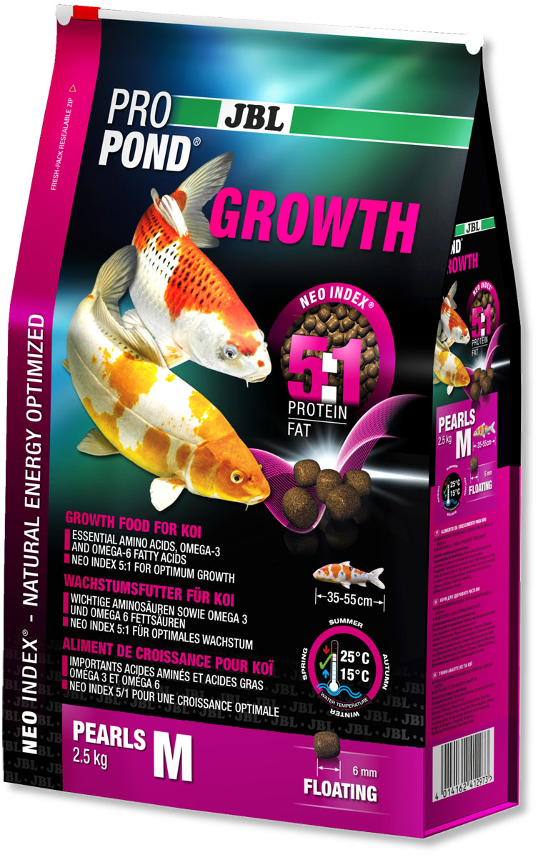 Корм JBL ProPond. Growth M для активного роста карпов кои среднего размера, плавающие гранулы, 2,5 кг (6 л)JBL4129700Корм JBL ProPond. Growth M в виде плавающих гранул предназначен для активного роста карпов кои среднего размера. Это основной корм с правильным соотношением белков и жиров 5:1 по индексу NEO Index, учитывающему температуру воды, функцию, размер и возраст рыб. NEO Индекс буквально означает: натуральное энергетически оптимизированное питание. Если рассматривать с точки зрения времени года, рыбы зимой должны получать вдвое меньше белков (2:1), чем летом (4:1). Однако учитываются не только время года и температура воды, но и размер, и возраст, а также функция корма (например, для роста - ProPond Growth). NEO Индекс сочетает в себе все эти нюансы. Корм содержит лосось, креветки, спирулину, рыбий жир для оптимального роста (при температуре воды 15-25°С). Размер корма M (6 мм) предназначен для рыб 35-55 см. Плавучие гранулы с 46% белка, 10% жира, 2% клетчатки и 10% золы. Корм в виде гранул для роста хранится в закрывающемся, воздухо-, водо- и светонепроницаемом пакете для лучшего качества. Товар сертифицирован.