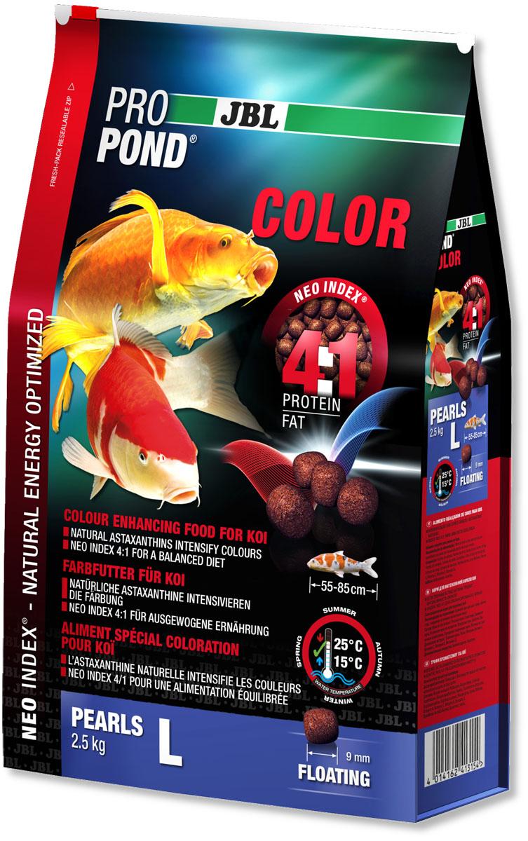 Корм JBL ProPond. Color L для улучшения окраски карпов кои большого размера, плавающие гранулы, 2,5 кг (6 л)0120710Корм JBL ProPond. Color L в виде плавающих гранул предназначен для улучшения окраски карпов кои большого размера. Это основной корм с правильным отношением белков и жиров 4:1 по индексу NEO Index, учитывающему температуру воды, функцию, размер и возраст рыб. NEO Индекс буквально означает: натуральное энергетически оптимизированное питание. Если рассматривать с точки зрения времени года, рыбы зимой должны получать вдвое меньше белков (2:1), чем летом (4:1). Однако учитываются не только время года и температура воды, но и размер, и возраст, а также функция корма (например, для роста - ProPond Growth). NEO Индекс сочетает в себе все эти нюансы. Корм содержит лосось, креветки, сою и астаксантин для идеальной окраски (при температуре воды 15-25°С). Размер корма L (9 мм) предназначен для рыб 55-85 см. Плавающие гранулы с 36% белка, 9% жира, 3% клетчатки и 9% золы. Корм в виде гранул для усиления окраски хранится в закрывающейся воздухо-, водо- и светонепроницаемой упаковке для лучшего качества. Товар сертифицирован.
