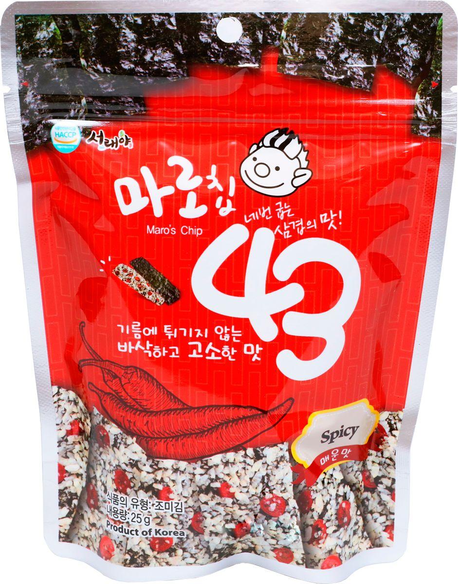 Maroscip43 запеченные чипсы из морской водоросли со жгучим перцем, 25 гбфи006Оригинальные снэки с морской капустой и коричневым рисом. Здоровый продукт с высоким содержанием белка. Запеченные чипсы из морских водорослей со жгучим перцем Maro 43 помогут восполнить нехватку в организме йода и укрепить иммунитет.