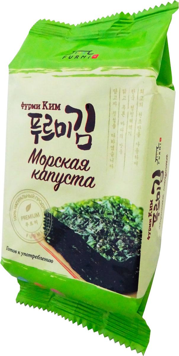 Furmi Kim морская капуста Фурми Ким, 5 г24Это хрустящая морская капуста, которая содержит целый комплекс витаминов (А, аксерофтол, провитамин А, кальциферол, витамины В!, В2, пиридоксин, В12) и микроэлементов (калий, марганец, медь, натрий, кальций, серебро, железо, фосфор, бром), содержит большое количество легкоусвояемого йода, предупреждает появление зоба. Хорошая закуска к пенным напиткам! Вы можете сочетать полезность продукта со своими желаниями. В упаковку вложен поглотитель влажности для предотвращения продукта от порчи. Выбросьте маленький пакетик с поглотителем, как только откроете упаковку.