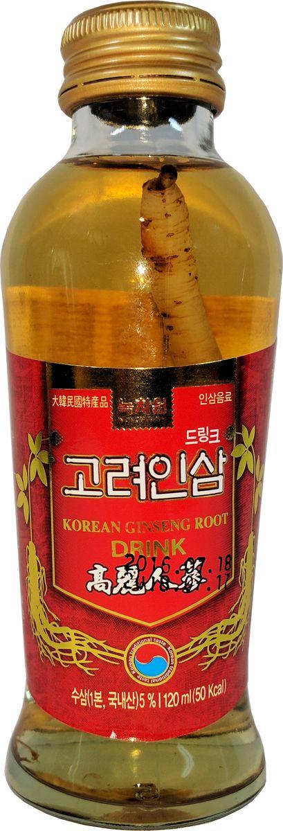 Nokchawon напиток тоник с корнем корейского женьшеня, 120 гжва004Высококачественный безалкогольный напиток-тоник с 3-х летним корнем корейского женьшеня внутри бутылки является натуральным и слегка подслащенным оздоравливающим средством для быстрого восполнения энергии в организме. Является общеукрепляющим и стимулирующим иммунную систему. Содержит витамины В1, В2, и С. Не является БАДом. Корень женьшеня можно разжевать и съесть.