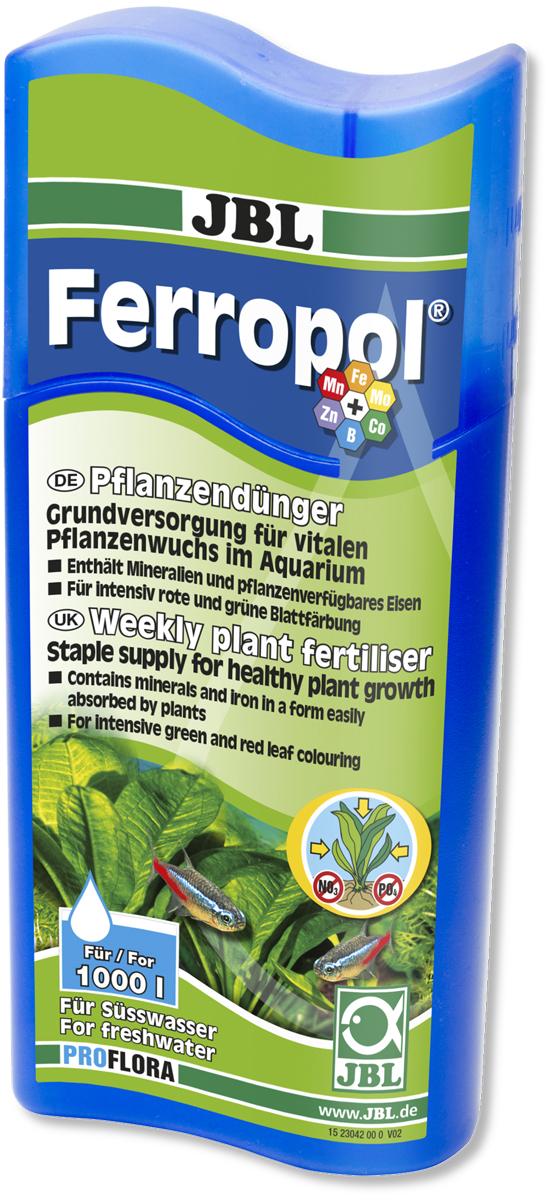 Удобрение для водных растений JBL Ferropol, 500 мл0120710Удобрение JBL Ferropol с микроэлементами предназначено для комплексного ухода за водными растениями в пресноводных аквариумах. Удобрение содержит основные питательные вещества, железо, калий и другие жизненно важные микроэлементы. Таким образом, растения получают питательные вещества для поглощения через листья и корни, чтобы предотвратить симптомы дефицита (например, нехватку железа). Удобрение обеспечивает пышный рост растений. Благодаря оптимальной концентрации железа и сбалансированному составу листья приобретают интенсивный цвет. Здоровые растения предотвращают рост водорослей, обеспечивают аквариум кислородом, предоставляют укрытие и снижают количество патогенов. Удобрение не содержит фосфатов и нитратов. Безопасно для пресноводных крабов и креветок.