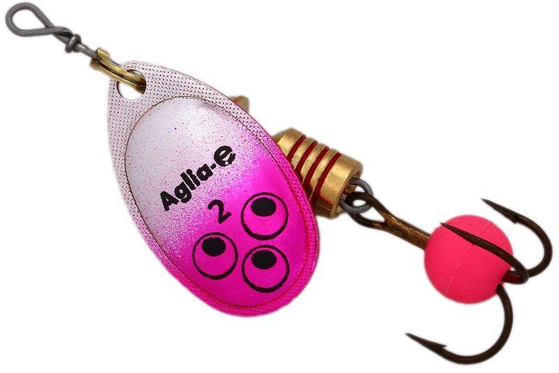 Блесна вращающаяся Mepps Aglia E, цвет: розовый, №2PGPS7797CIS08GBNVВращающаяся блесна для ловли хищных видов рыб. Имеет яркий, кислотный цвет. Тройник блесны оснащен флуоресцентным светонакопительным шариком.