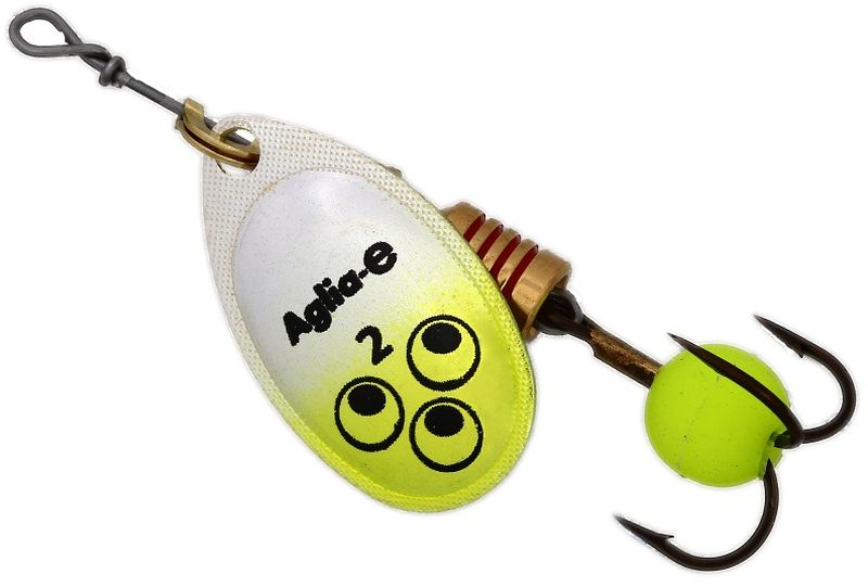 Блесна вращающаяся Mepps Aglia E, цвет: шартрез, №28652Вращающаяся блесна для ловли хищных видов рыб. Имеет яркий, кислотный цвет. Тройник блесны оснащен флуоресцентным светонакопительным шариком.