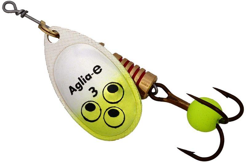 Блесна вращающаяся Mepps Aglia E, цвет: шартрез, №3010-01199-23Вращающаяся блесна для ловли хищных видов рыб. Имеет яркий, кислотный цвет. Тройник блесны оснащен флуоресцентным светонакопительным шариком.