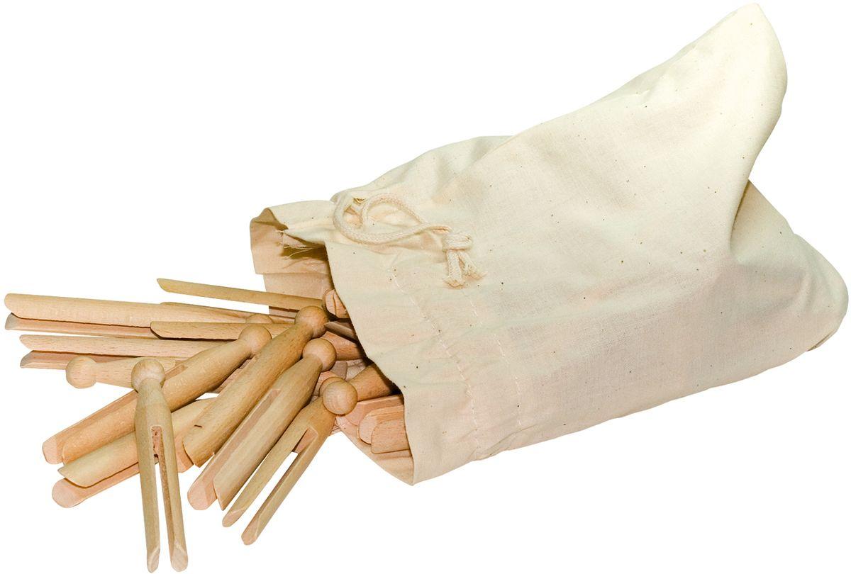 Прищепки Redecker, круглые, в мешке, 50 штGC013/00Набор прищепок для удобного подвешивания белья и одежды. Изготовлен из натурального дерева, за счет чего отличается хорошей износостойкостью и долговечностью. Упакован в хлопковый мешок, который можно подвесить на крючок.В наборе – 50 прищепок.