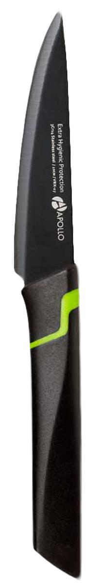 Нож для овощей Apollo Vertex, длина лезвия 10 см. VRX-07SH-0021Нож для овощей Apollo Vertex изготовлен из высококачественной нержавеющей стали. Лезвие такого ножа остается острым очень долгое время, оно заточено и сформировано для максимально эффективного использования. Рукоятка выполнена из пластика. Этот нож предназначен для очистки кожуры, декорирования и нарезания фруктов. Нож Apollo Vertex станет прекрасным дополнением к коллекции ваших кухонных аксессуаров и не займет много места при хранении.