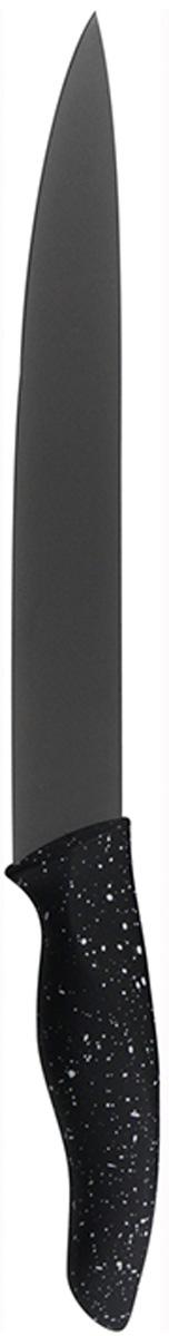 Нож для шинковки Marta Slicer, длина лезвия 20 см. MT-2872FS-91909Нож Marta Slicer выполнен из высококачественной пищевой нержавеющей стали и керамическим покрытием. Нож для нарезки имеет гладкое острозаточенное лезвие, а также стильное исполнение ручки удобной формы, обеспечивающей плотный контакт с ладонью, со специальным покрытием, предотвращающим скольжение в руке. Изделие предназначено для шинковки, нарезки овощей и фруктов. Нож можно точить. Нож можно мыть в посудомоечной машине.Длина ножа: 31,8 см.Толщина лезвия: 2 мм.