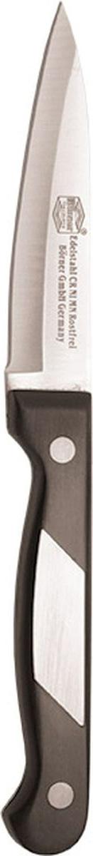 Нож для чистки овощей Borner Ideal, цвет: стальной, черный, длина лезвия 9 см862180Нож Borner Ideal изготовлен из прокатной коррозионностойкой высоколегированной стали марки X50CrMoV15. Такой нож отлично подходит для чистки овощей. Он очень легкий и абсолютно не ржавеет. Эргономичная рукоятка ножа выполнена из бакелита. Нож Borner Ideal предоставит вам все необходимые возможности в успешном приготовлении пищи. Не резать на стеклянных и металлических поверхностях. Желательно использовать пластиковые и деревянные разделочные доски. Не рубить кости и замороженные продукты.Длина лезвия: 9 см.Общая длина ножа: 19,5 см.