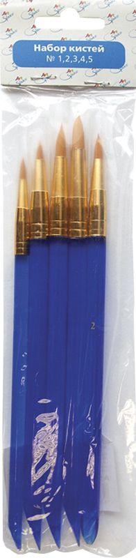 Спейс Набор круглых кистей Синтетика 5 штSB1-5_2386Набор кистей № 1,2,3,4,5 синтетика, круглые, 5 шт, европодвес, материал — синтетика