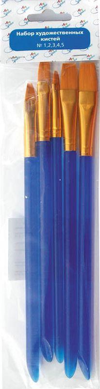 Спейс Набор плоских кистей Cинтетика 5 штSB_3294Набор кистей № 1,2,3,4,5 синтетика, плоские, 5 шт, европодвес