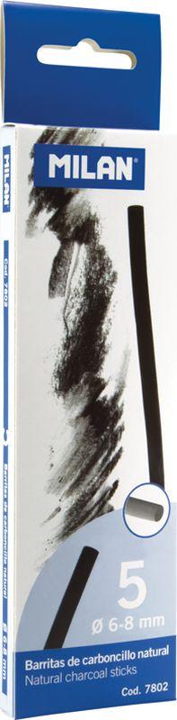 Milan Уголь для рисования круглый 6-8 мм 5 штFS-36052Набор натуральных углей для рисования Milan состоит из пяти углей, выполненных в форме палочек круглого сечения, диаметра 6-8 миллиметров. Уголь относится к самым старым рисовальным материалам. Природный уголь получают обжигом прутьев при высокой температуре без доступа воздуха. Древесина обуглится, а отдельные веточки остаются целыми, ими можно рисовать сразу после обжига. Уголь - это быстрый, линейный и чувственный рисовальный инструмент. Он может создать, как выразительные, так и мягкие линии. Характер и воздействие угольного штриха определяется способом ведения угля.Натуральные угли для рисования Milan не крошатся.Углем можно создавать мягкие и проработанные тоновые эффекты различными способами.