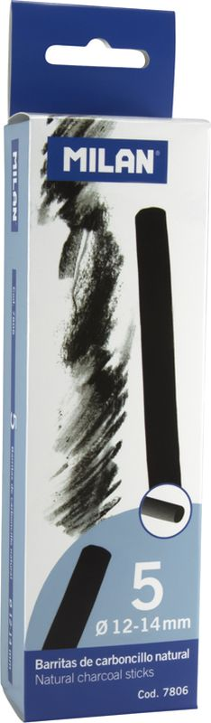 Milan Уголь для рисования круглый 12-14 мм 5 шт7806Набор натуральных углей для рисования Milan состоит из пяти углей, выполненных в форме палочек круглого сечения, диаметра 12-14 миллиметров. Уголь относится к самым старым рисовальным материалам. Природный уголь получают обжигом прутьев при высокой температуре без доступа воздуха. Древесина обуглится, а отдельные веточки остаются целыми, ими можно рисовать сразу после обжига. Уголь - это быстрый, линейный и чувственный рисовальный инструмент. Он может создать, как выразительные, так и мягкие линии. Характер и воздействие угольного штриха определяется способом ведения угля.Натуральные угли для рисования Milan не крошатся.Углем можно создавать мягкие и проработанные тоновые эффекты различными способами.