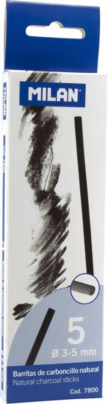 Milan Уголь для рисования круглый 3-5 мм 5 штFS-36052Набор натуральных углей для рисования Milan состоит из пяти углей, выполненных в форме палочек круглого сечения, диаметра 3-5 миллиметров. Уголь относится к самым старым рисовальным материалам. Природный уголь получают обжигом прутьев при высокой температуре без доступа воздуха. Древесина обуглится, а отдельные веточки остаются целыми, ими можно рисовать сразу после обжига. Уголь - это быстрый, линейный и чувственный рисовальный инструмент. Он может создать, как выразительные, так и мягкие линии. Характер и воздействие угольного штриха определяется способом ведения угля.Натуральные угли для рисования Milan не крошатся.Углем можно создавать мягкие и проработанные тоновые эффекты различными способами.
