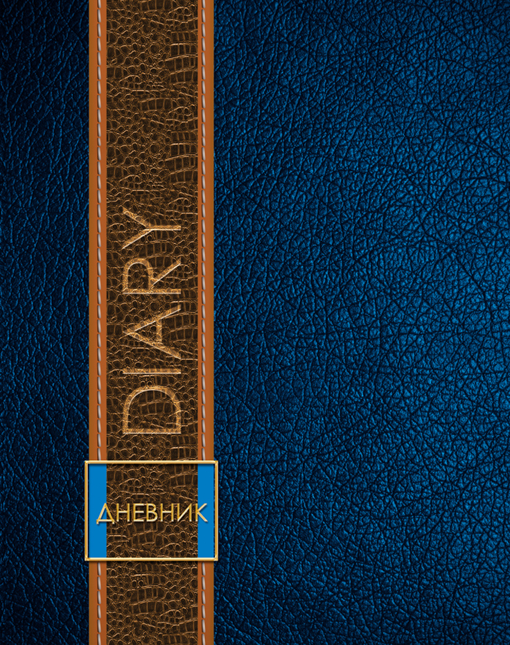 Апплика Дневник школьный Текстура кожи цвет синий
