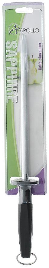 Мусат Apollo Sapphire, цвет: черный, 25 смС2ССК15Мусат Apollo Sapphire изготовлен из высококачественной нержавеющей стали и предназначен для правки и заточки кухонных ножей. Эргономичная рукоятка выполнена из пищевого пластика черного цвета с металлической петлей, для крепления в удобном для вас месте. Характеристики:Материал: нержавеющая сталь, пластик. Цвет: черный. Общая длина мусата:39 см. Длина прутка: 25 см. Артикул:SPH-88.