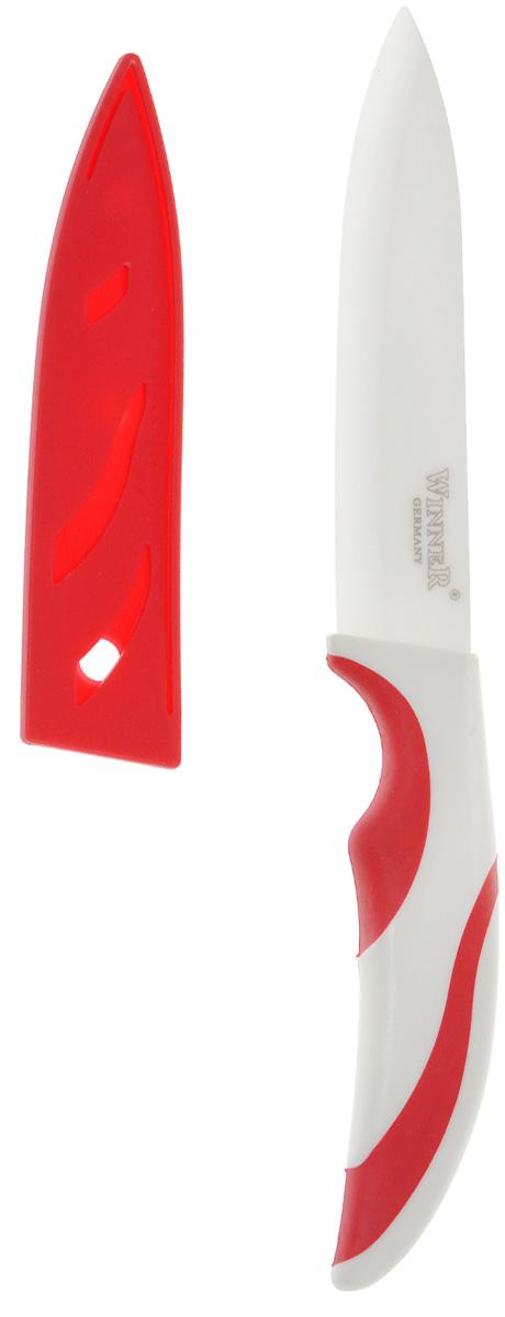 Нож универсальный Winner, керамический, с чехлом, цвет: красный, длина лезвия 12,5 смWR-7231 красныйНож Winner изготовлен из высококачественной циркониевой керамики - гигиеничного, экологически чистого материала. Нож имеет острое лезвие, не требующее дополнительной заточки. Эргономичная рукоятка выполнена из высококачественного прорезиненного пластика. Рукоятка не скользит в руках и делает резку удобной и безопасной. Такой нож желательно использовать для нарезки овощей, фруктов, рыбы и мяса без костей. В комплекте пластиковый чехол.Керамика - это отличная альтернатива металлу. В отличие от стальных ножей, керамические ножи не переносят ионы металла в пищу, не разрушаются от кислот овощей и фруктов и никогда не заржавеют. Этот нож будет служить вам многие годы при соблюдении простых правил.Общая длина ножа: 24,5 см.