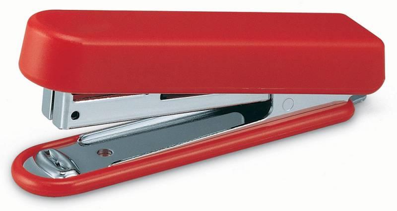 KW-Тrio Степлер 10 листов цвет красный1040826Настольный степлер KW-Тrio с металлическим механизмом обеспечит качественное скрепление документов.KW-Тrio степлер выполнен в черном цвете. Сшивает до 10 листов бумаги плотностью 80гр/м2. Скобы №10. Вместимость 50 скоб. Встроенный антистеплер.