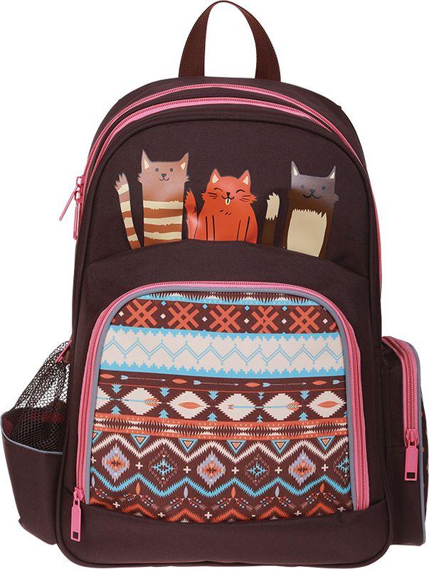 Berlingo Рюкзак Light CatsRU01645Рюкзак Berlingo Cats - это невероятно привлекательный аксессуар для вашего ребенка.Серия Light - это лёгкие яркие рюкзаки для детей младшего школьного возраста. Рюкзак имеет 2 отделения, большой передний карман на молнии и 2 боковых кармана. Рюкзаки данной серии изготовлены из прочного нейлона, характеризующегося повышенной износостойкостью и в тоже время мягкостью. Эргономичная спинка и широкие лямки делают рюкзак максимально удобным. Светоотражающие элементы на лямках, передней части рюкзака и боковых карманах гарантируют безопасность ребёнка в тёмное время суток.Порадуйте свою малышку таким замечательным подарком!
