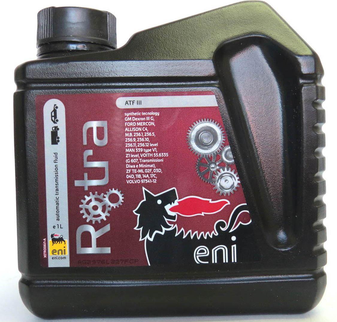 трансмиссионное масло Eni Rotra ATF III 1лS03301004Eni Rotra ATF III это жидкость для автоматических трансмиссий и гидросистем, отвечающая требованиям спецификаций GM Dexron III, Ford Mercon, Allison C4, а также требованиям европейских автопроизводителей. Eni Rotra ATF III имеет высокую стабильность к окислению, что обеспечивает безупречную чистоту трансмиссий. Жидкость обладает стабильностью фрикционных свойств, что подтверждено циклом испытаний на их прочность. Eni Rotra ATF III имеет прекрасную текучесть при низких температурах. Хорошая совместимость со всеми типами изделий из эластомеров и металлов обеспечивает надежную защиту от протечек и износа. Хорошие антипенные свойства предотвращают пенообразование.ХарактеристикиСпецификации и одобрения GM Dexron III(G-34193), Allison C4, BMW BG 24, MB 236.1/236.5/236.10/236.11/236.12, Ford Mercon, Man 339 type F, ZF TE-ML 02F/03D/04D/11B/14A/17C, Volvo 97341-12, Ford Mercon, Voith G607, Diwa