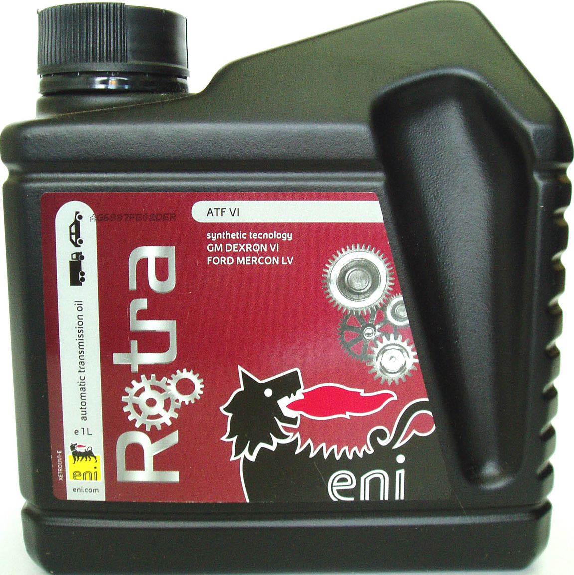трансмиссионное масло Eni Rotra ATF VI 1лS03301004Еni Rotra ATF VI – это маловязкое синтетическое масло, обладающее высокими эксплуатационными характеристиками, разработанное на основе синтетических базовых масел класса премиум, с использованием усовершенствованной технологии добавления присадок, результатом чего стало превышение жестких требований, предусматриваемых спецификацией GM DEXRON-VI, необходимых для оптимального использования в пассажирских и грузовых автомобилях, оборудованных основной коробкой передач. Масло Еni Rotra ATF VI является полностью совместимым с прочими смазочными материалами, благодаря чему оно рекомендовано для использования в автоматических коробках передач или системах рулевого управления с усилителем пассажирских и грузовых автомобилей, параметры масла которых должны соответствовать спецификациям DEXRON II-E, III-G и III-H. Еni Rotra ATF VI демонстрирует чрезвычайную устойчивость к окислению в тяжелых условиях, что обеспечивает плавность переключения передач и надолго предотвращает образование шлаков и отложений. Противовспенивающие свойства указанной продукции предотвращают образование пузырьков воздуха, которые могут оказывать негативное воздействие на однородность смазывающего слоя, и обеспечивают быстрый выпуск воздуха. Противоизносные свойства указанной продукции обеспечивают надежную защиту и безопасность системы трансмиссии. Еni Rotra ATF VI обладает оптимальными фрикционными свойствами, обеспечивающими плавное переключение скоростей в условиях низких температур и помогающими предотвратить вибрацию коробки передач.ХарактеристикиСпецификации и одобрения GM DEXRON VI H, JWS 3324, FORD MERCON LV, MITSUBISHI SP-IV, JASO 1-A, MITSUBISHI ATF-J2, AISIN WARNER AW-1, NISSAN MATIC S, HONDA DW-1, SAAB 93 165 147, HYUNDAY/KIA SP-IV, TOTYOTA WS, HYUNDAY NWS-9638