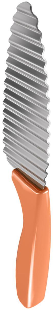 Нож для фигурной нарезки Metaltex, цвет: оранжевый, длина лезвия 11,5 см25.27.95Нож для фигурной нарезки Metaltex, выполненный из нержавеющей стали, будет отличным отличным инструментом, который станет настоящим помощником на кухне. Он не просто нарезает овощи кусочками, но и делает их плавными, волнистыми. Изделие оснащено удобной пластмассовой ручкой. Такой нож идеально подойдет для сервировки ваших любимых блюд узорным картофелем, морковью, огурцом, яйцами и многим другим. Общая длина ножа: 22 см.