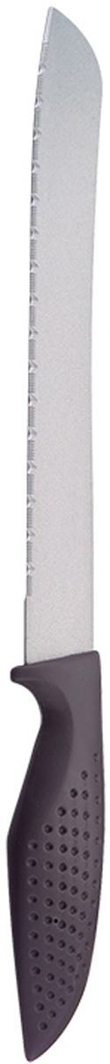 Нож универсальный Marta Utility, с титановым покрытием, длина лезвия 20 см260550_синий кружокУниверсальный нож Marta Utility с лезвием из высококачественной пищевой нержавеющей стали 1 мм и титановым покрытием. Изделие из нержавеющей стали имеет самый длительный срок службы, отлично сохраняет эксплуатационные свойства и внешний вид. Высококачественная пищевая нержавеющая сталь не имеет запаха и сохраняет вкус и аромат продуктов натуральными, а гигиеничное, нетоксичное, гипоаллергенное титановое покрытие устойчиво к коррозии и обеспечивает длительное сохранение качества режущей кромки ножа без необходимости его дополнительной заточки.Нож имеет зубчатое острозаточенное лезвие, а также стильное исполнение пластиковой ручки удобной формы с тиснением для более плотного контакта с ладонью.Качественный универсальный нож Marta Utility – это подлинное украшение кухни и уверенность в успехе любого блюда.Можно мыть в посудомоечной машине. Общая длина ножа: 30,2 см.