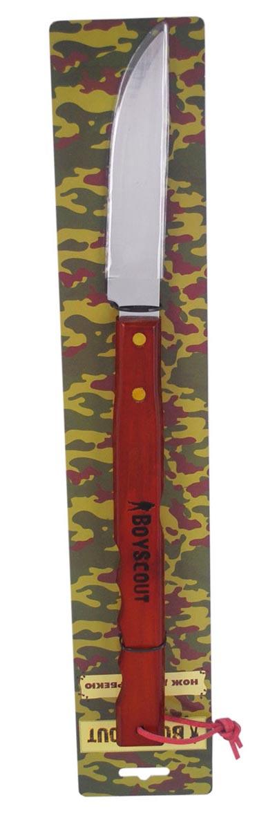 Нож для барбекю Boyscout, 40 см61263Нож Boyscout предназначен для безопасного приготовления мяса на открытом огне или углях, а также для нарезания жаренного мяса или рыбы. Оснащен длинной деревянной ручкой. Лезвие выполнено из нержавеющей стали.