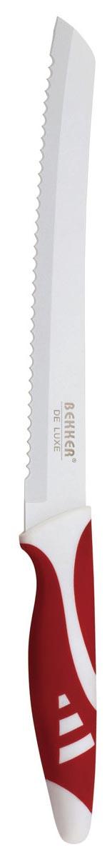 Нож для резки хлеба Bekker De Luxe, цвет: белый, красный, 33,5 см859975, 1003033Нож Bekker De Luxe предназначен для нарезки хлеба. Лезвие имеет керамическое покрытие Nano Resin, которое предотвращает прилипание продуктов. Прорезиненная рукоятка обеспечивает удобный хват. Можно мыть в посудомоечной машине. Характеристики: Материал:нержавеющая сталь, пластик. Толщина лезвия:1,5 мм. Длина лезвия ножа:20,4 см. Общая длина ножа:33,5 см. Размер упаковки:40 см х 8,5 см х 2 см.