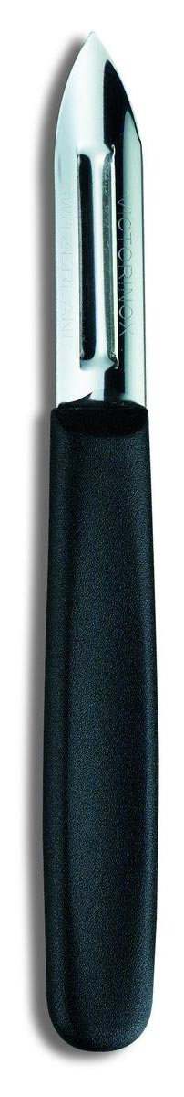 Нож для чистки картофеля Victorinox, двустороннее лезвие, цвет: черный9053-2Эта серия ножей и кухонных принадлежностей вот уже несколько десятилетий является ключевой частью ассортимента VICTORINOX .Все ножи,вилки STANDART удобны в использовании и пригодны для мойки в посудомоечной машине. Удобный и практичный нож для чистки картофеля Victorinox подходит также для других овощей и фруктов. Двусторонняя режущая кромка позволяет с одинаковым удобством пользоваться ножом как правшам, так и левшам. В данной модели рукоять черная из полимера (нейлон), лезвие из нержавеющей стали