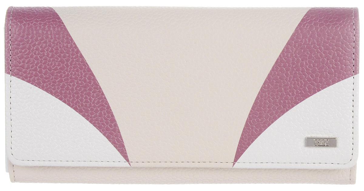 Кошелек женский Esse Радо, цвет: молочный. GRDO00-00MG00-FJ242O-K100383549Большой вместительный кошелёк - купюрник. Имеет 3 широких отделения для купюр и 4 дополнительных открытых кармана, 6 прорезных карманов для кредитных карт (одно в виде кармашка с пластиковым окном). На задней стенке отделение для мелочи, закрывающееся на молнию. Закрывается на кнопку.