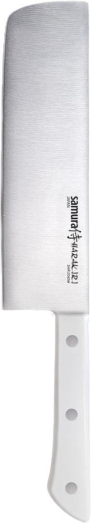 Нож кухонный Samura Harakiri, накири, цвет: белый, длина лезвия 16,1 смRD-471Кухонный нож Samura Harakiri - незаменимый помощник на вашей кухне. Накири - это японский нож для нарезки овощей с массивным клинком и обухом, по форме напоминающий топорик. Изделие имеет очень тонкое, узкое и прямое лезвие из высокотехнологичной коррозионностойкой стали AUS 8 (Aishi Steel Works).Легкая, отлично сбалансированная и приятная на ощупь рукоятка удобна в использовании. Двусторонняя заточка острых ножей Samura Harakiri на водных камнях привлекает своим удобством не только европейцев, но и самих японцев.