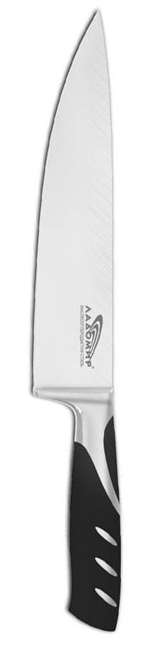 Нож поварской Ладомир, длина лезвия 20 см. Н5НСК20rck7Поварской нож Ладомир выполнен из высокоуглеродистой кованой нержавеющей стали. Очень удобная и эргономичная рукоятка, изготовленная из бакелита и стали, не позволит выскользнуть ножу из вашей руки. Рукоятка оснащена цельнокованым антибактериальным больстером.Нож предназначен для нарезки мяса, рыбы, овощей и фруктов. Такой нож займет достойное место среди аксессуаров на вашей кухне. Особенности поварского ножа Ладомир: - материал лезвия - высокоуглеродистая кованая нержавеющая сталь соответствует ГОСТ 1050-88; - твердость по Роквеллу - HRC 58; - оптимальный угол заточки (23°) - в 2,7 раза увеличивает износостойкость лезвия. Характеристики:Материал: высокоуглеродистая кованая нержавеющая сталь, бакелит. Общая длина ножа: 33,5 см. Длина лезвия: 20 см. Изготовитель: Китай. Артикул: Н5НСК20.