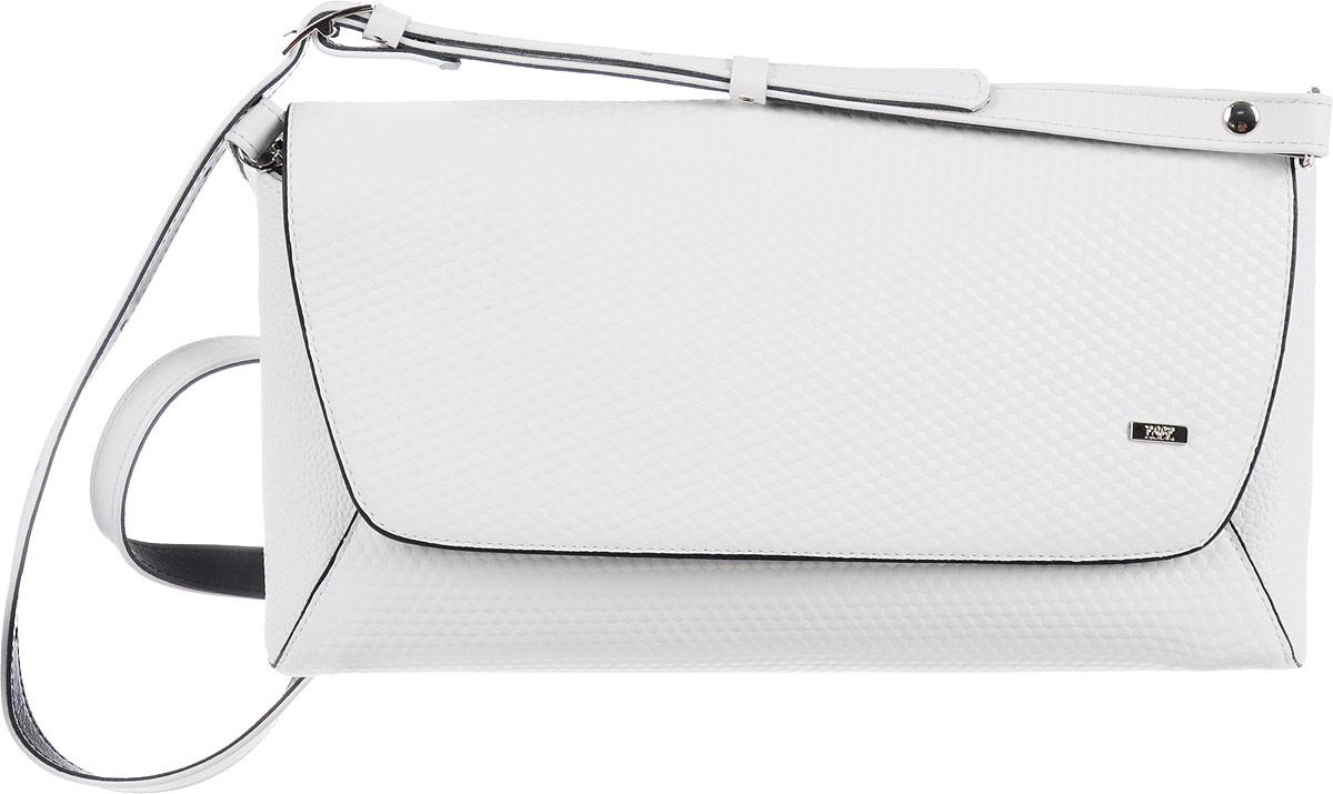 Сумка женская Esse Рейчел, цвет: белый, черный967-637T-17s-01-42Женская сумка-клатч Esse Рейчел изготовлена из качественной натуральной кожи.Сумка состоит из одного отделения и закрывается на молнию и клапан. Внутри отделения имеется карман на молнии. На задней стенке расположен врезной карман на молнии. Сумка оснащена съемным плечевым ремнем регулируемой длины и ремешком-цепочкой.