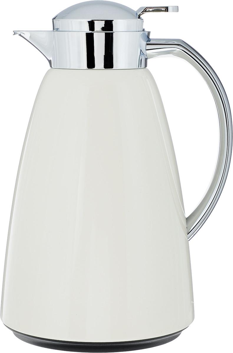 Термос-чайник Emsa Campo, цвет: молочный, стальной, 1 л115510Удобный термос-чайник Emsa Campo станет незаменимым аксессуаром в поездках, выездах на природу, дачу, рыбалку или пикник. Корпус изделия выполнен из высококачественной нержавеющей стали и ABS пластика, а колба - из стекла. На крышке изделия имеется кнопка, с помощью которой вы сможете легко открыть герметичный клапан, а удобные носик и ручка позволят аккуратно разлить содержимое по стаканам. Время удержания тепла: 12 ч.Время удержания холода: 24 ч.
