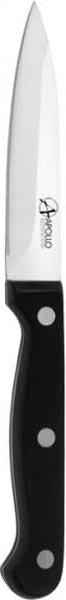 Нож для овощей Apollo Saphire, цвет: серебристый, черный, длина лезвия 8 смВ2ВСК20Нож Apollo Saphire изготовлен из высококачественной нержавеющей стали, обеспечивающей долгое сохранение заточки. Эргономичная рукоятка выполнена из высококачественного пищевого пластика черного цвета. Рукоятка не скользит в руках и делает резку удобной и безопасной. Нож превосходно подходит для нарезки и обработки различных овощей. Такой нож займет достойное место среди аксессуаров на вашей кухне. Характеристики:Материал:нержавеющая сталь, пластик. Цвет:серебристый, черный. Общая длина ножа:19,5 см. Длина лезвия: 8 см. Артикул:ТКР020\1.
